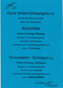 Carl Stamitz Musikschule Flöten und Trommeln